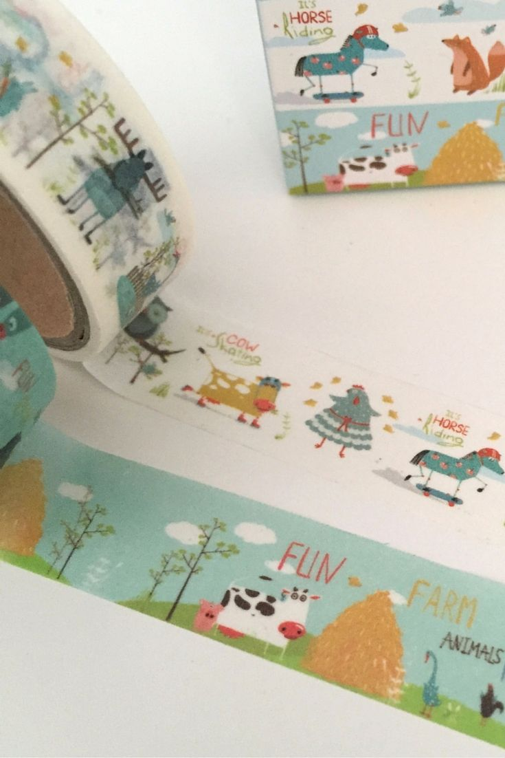 Fun Farm Animal Design Washi Tape. So many patterns and colours to choose from, and so many crafty uses! Great for DIY craft decoration projects. Add that personal touch to frames, candles, notebooks and journals. Easy to use for kids craft activities - no mess!