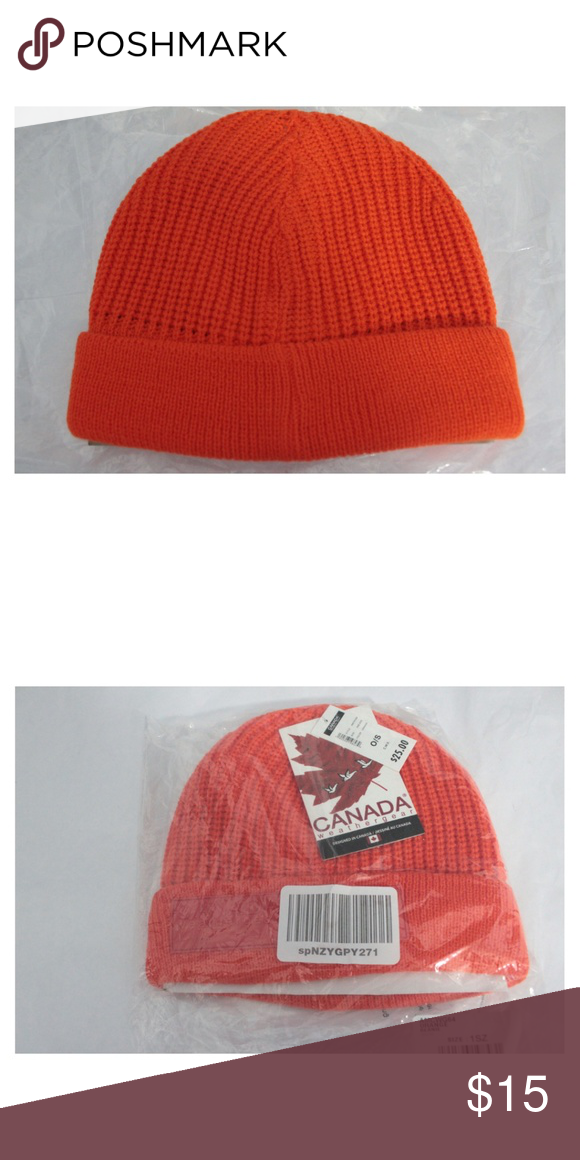 38432a0e09f162 Mens Winter Beanie Orange One Size Lined Canada Weather Gear Men's  Fisherman Chunky Beanie 100% Acrylic Imported Machine Wash Chunky rib knit  construction ...
