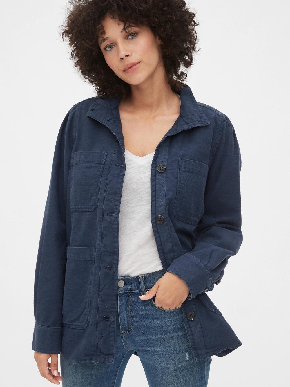 Slub Utility Jacket Gap Coats Jackets Women Jackets Stylish Outerwear [ 1333 x 1000 Pixel ]