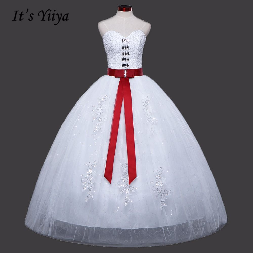 Click to buy ucuc sequins transparent red waist white wedding dresses