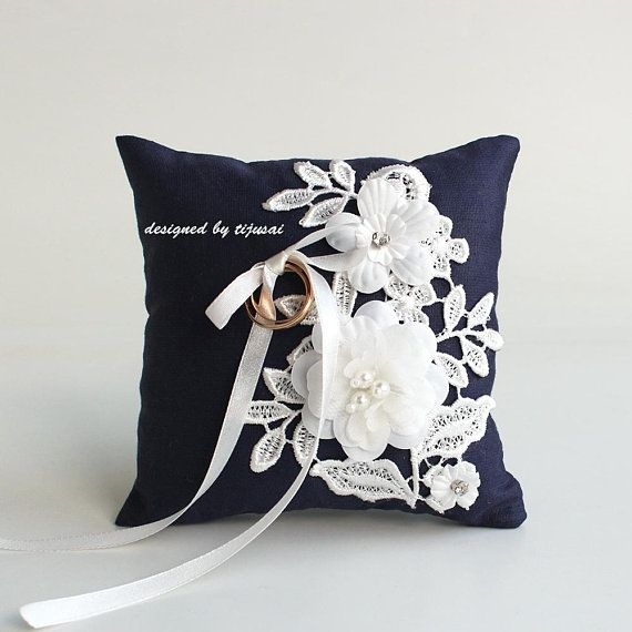 Navy blue Wedding pillow with flowers and embroidering---ring bearer ...