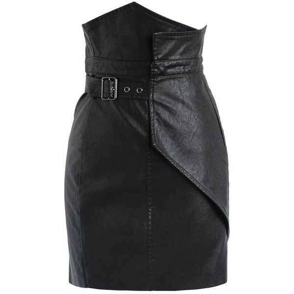 64feebc485 Chicwish Wild Charm Flap Faux Leather Skirt in Black ($42) ❤ liked on  Polyvore featuring skirts, black, leather look skirt, fake leather skirt,  ...