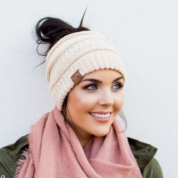 Our CC brand top knot beanies are the solution to wearing your hair up  while keeping you warm and in style. Perfect for those messy buns 2fe516ee81d