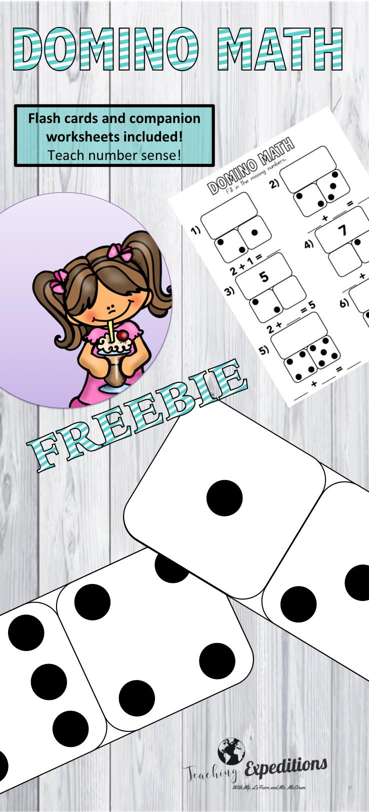 Cute Domino Math Freebie From Teaching Expeditions Math Flash Cards Flashcards Flash Cards Free [ 1624 x 738 Pixel ]