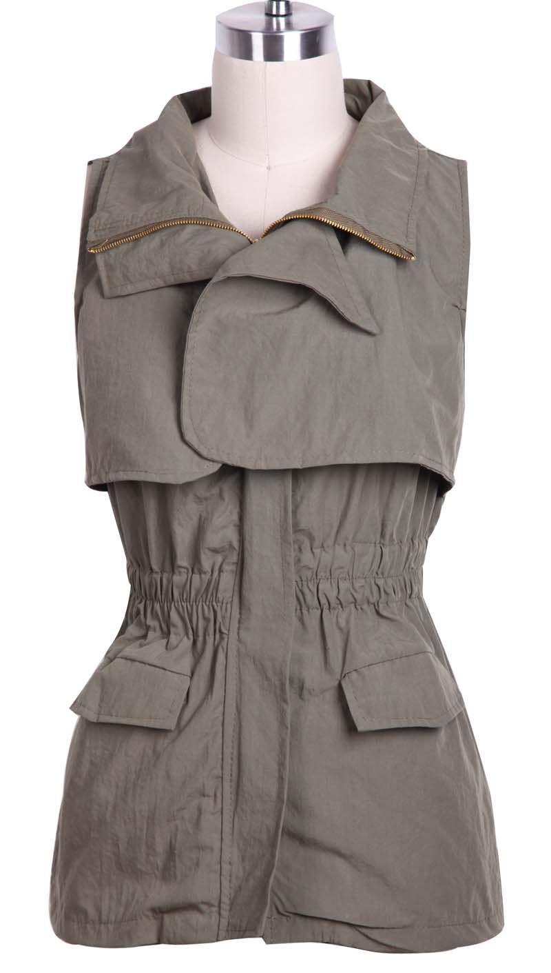 А Green Pockets Vest Sleeveless Military Zipper Xvqwp4xT