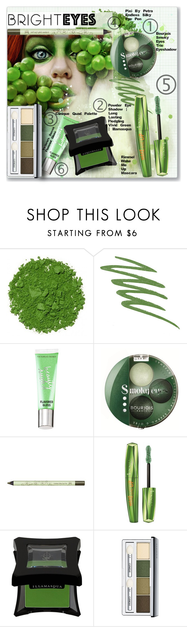 """""""BRIGHT EYES #3"""" by fashionismyprofession8 ❤ liked on Polyvore featuring beauty, Illamasqua, NARS Cosmetics, Victoria's Secret, Bourjois, Pixi, Rimmel, Clinique and brighteyes"""