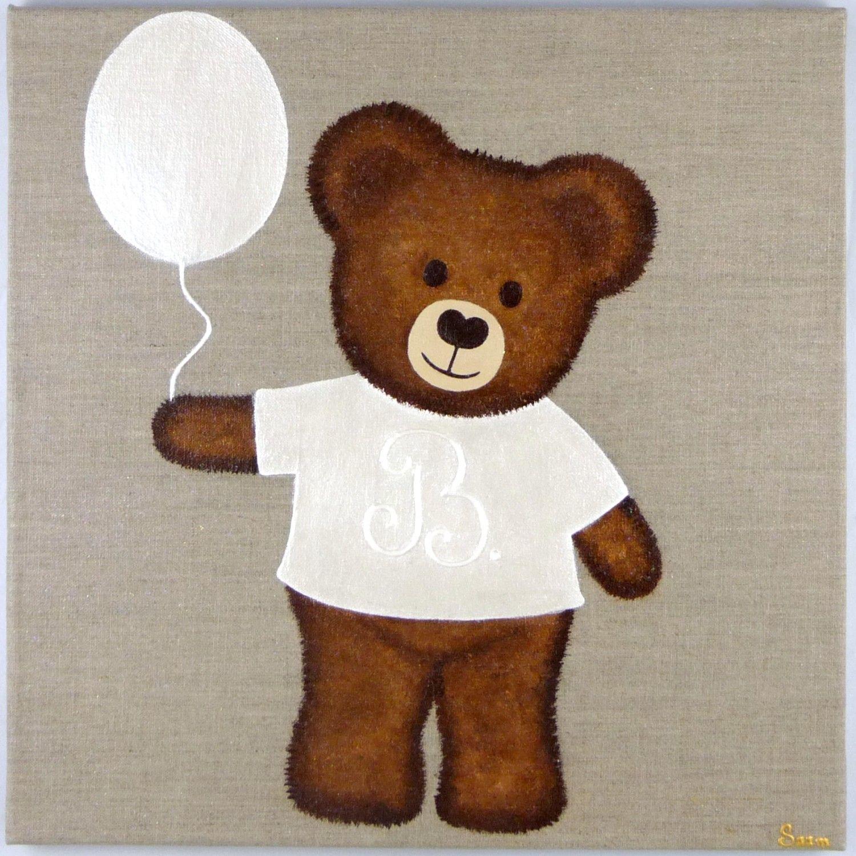 tableau ourson au ballon peinture sur lin pinterest ballon ourson et tableau. Black Bedroom Furniture Sets. Home Design Ideas