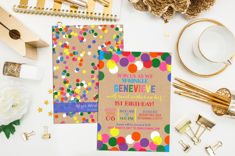 Confetti birthday invitation thank you print printable custom confetti birthday invitation thank you print printable custom confetti dots birthday invite filmwisefo