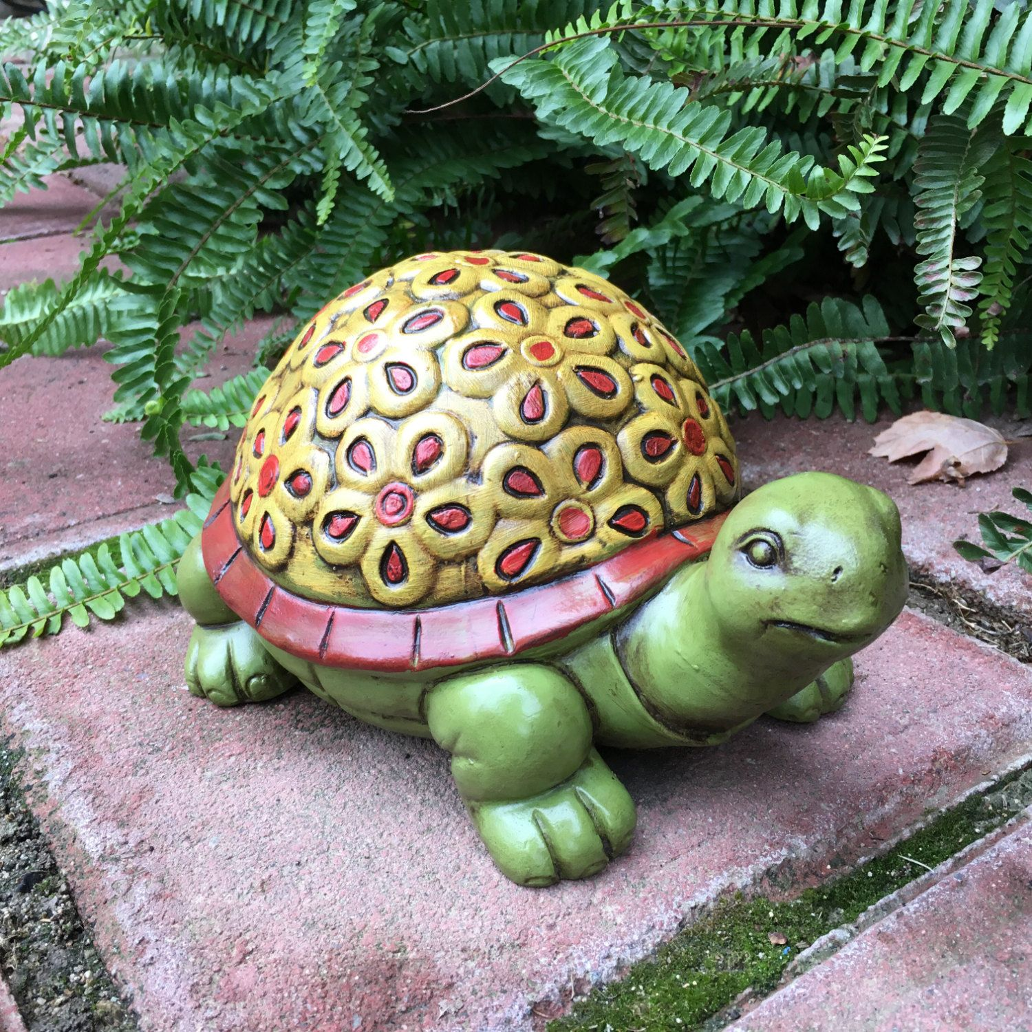 Concrete Garden Turtle Hand Painted Flower Tortoise With Floral ...