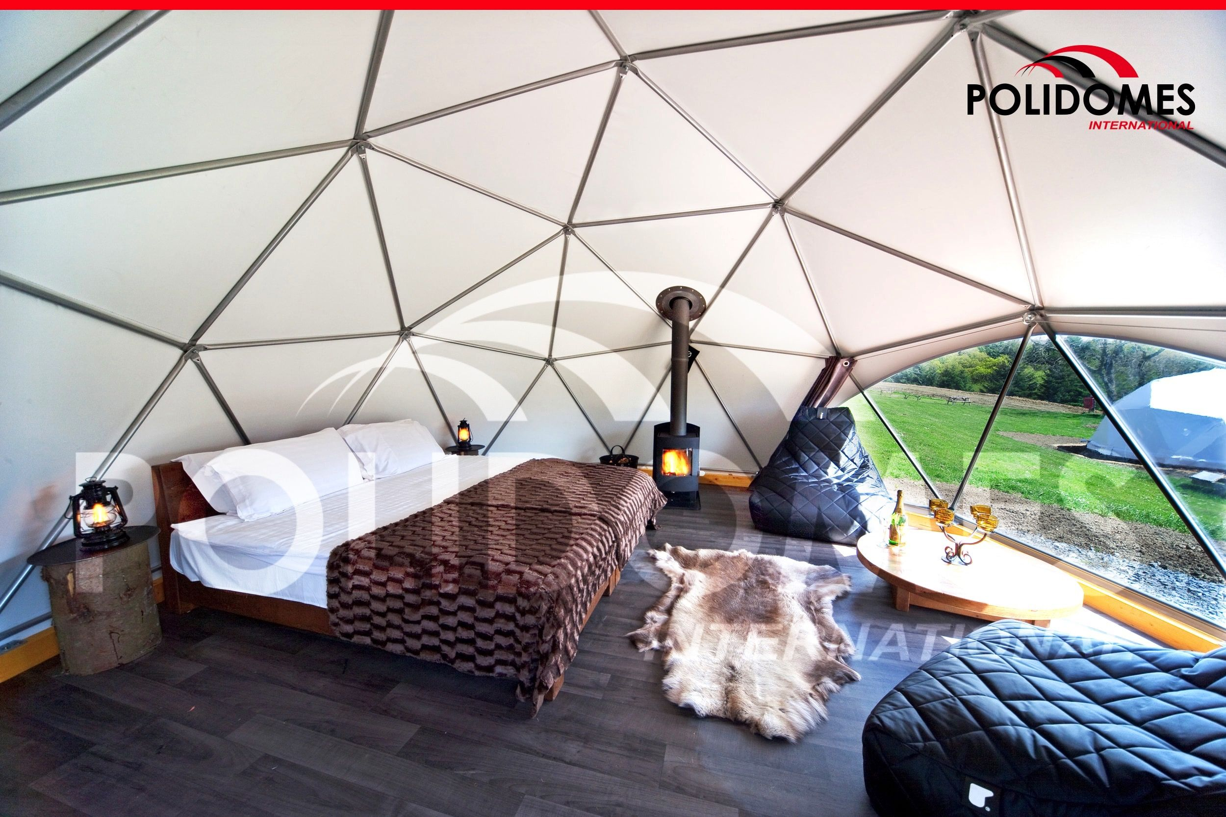 Geodesic dome tents for sale u0026 hire. Geodesic dome tents online of all sizes for any event or gl&ing. Event domes and gl&ing geodesic dome kits online. & Inside the tent is equipped with a double bed a sitting area and ...