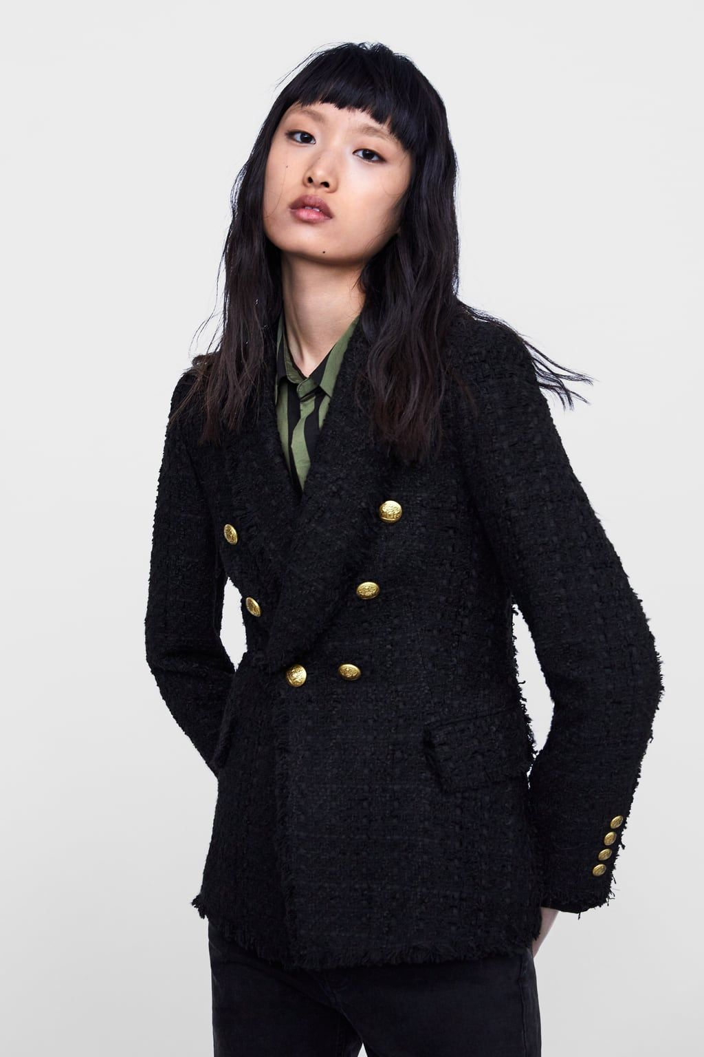 074756bc Image 2 of TWEED BLAZER WITH BUTTONS from Zara   my style   Tweed ...