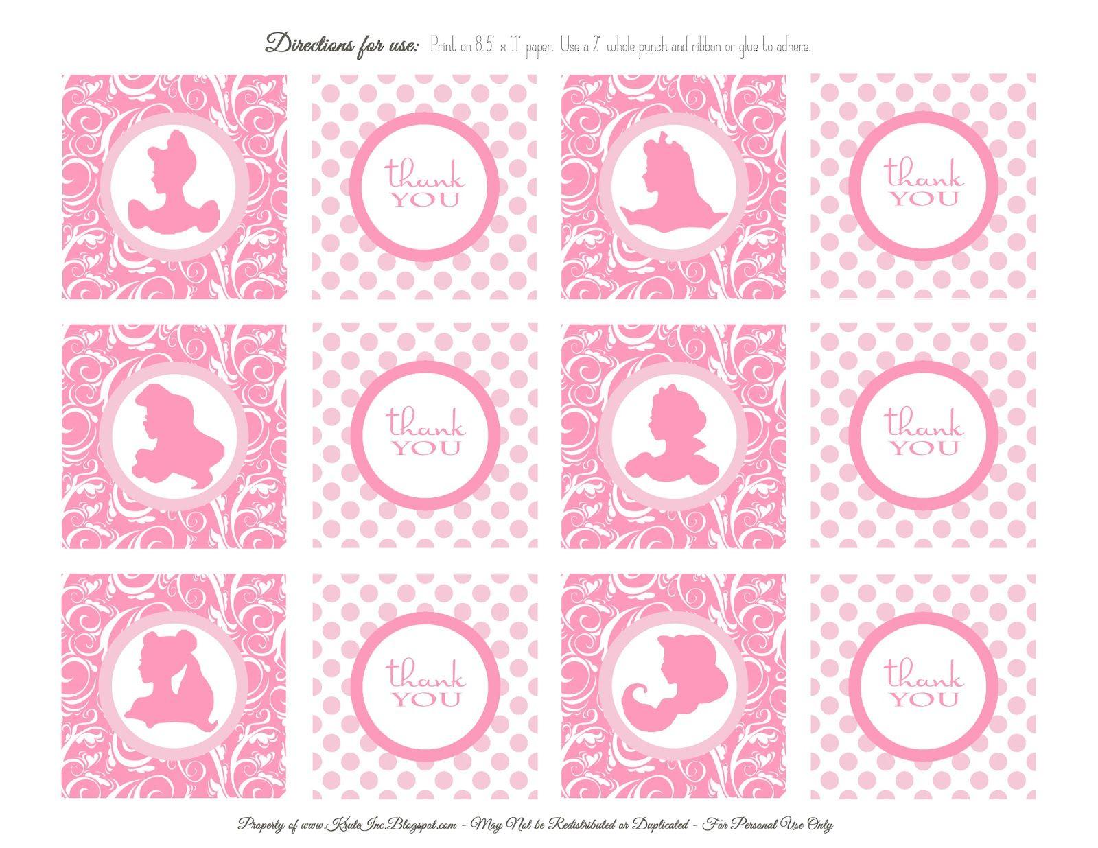 Free Printables: Princess Birthday Favor Tags | Kids bdays ...