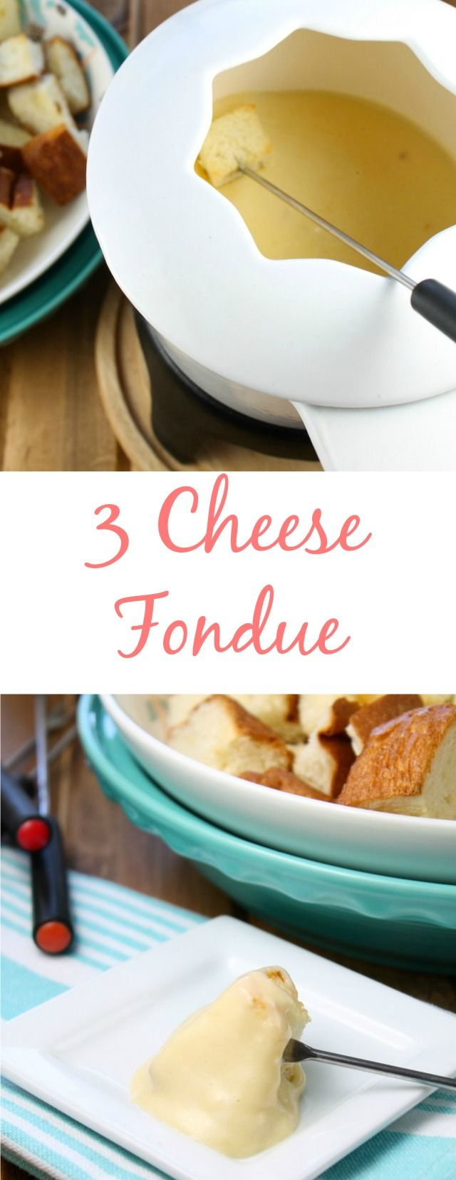 Three Cheese Fondue ~ recipe found at missinthekitchen.com #meatfonduerecipes