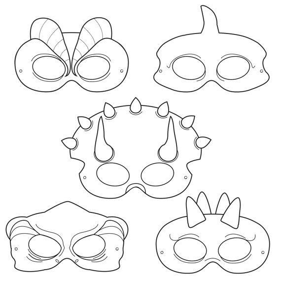 Dinosaurs Printable Coloring Masks, dinosaur masks, triceratops mask ...