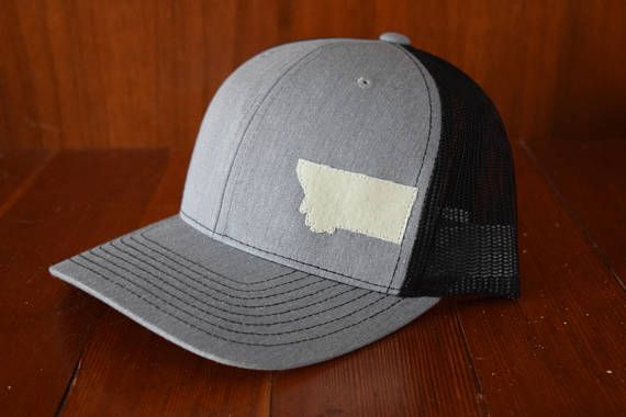 Gray/Black Montana (MT) Trucker Hat - Light Gray front
