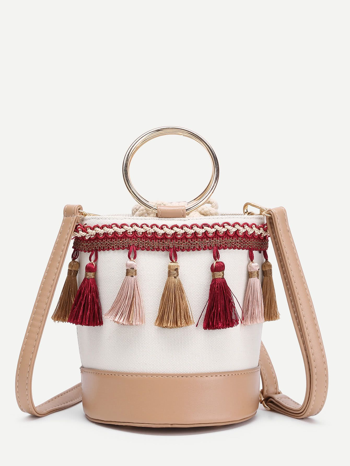 Tassel Decorated Bucket Bag With Ring Handle -SheIn(Sheinside ... 34acbd89c9da9
