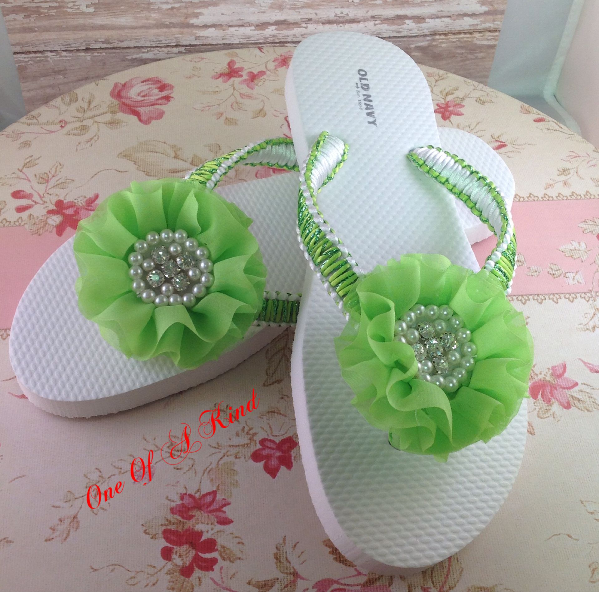 Green And White Flip Flops In Macrame With A Beaded Chiffon Fancy