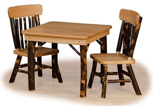 Amish Childs Oak Hardwood Hickory Table Two Childs Hickory Chairs Kids Table And Chairs Childrens Table Table And Chair Sets