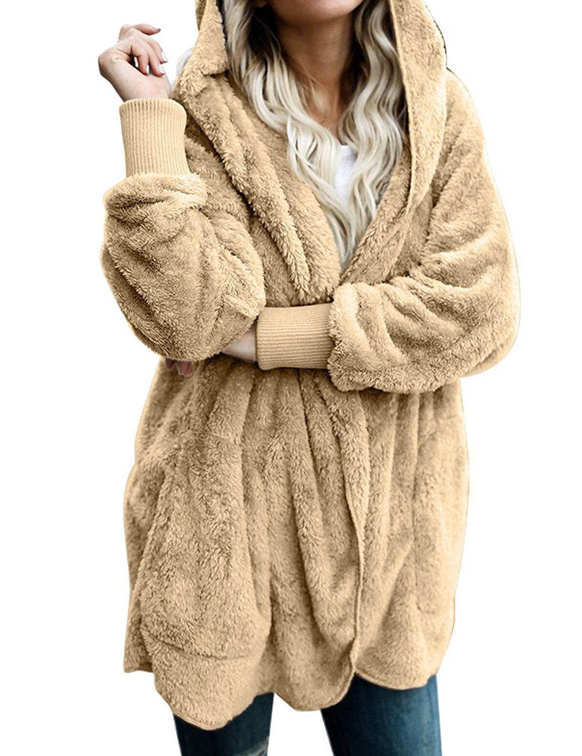 adf587ec94 Material  95% Polyester   5% Spandex - Imported - Women oversized cozy  cardigan features hooded at back and draped open front. Long sleeves with  ribbed ...