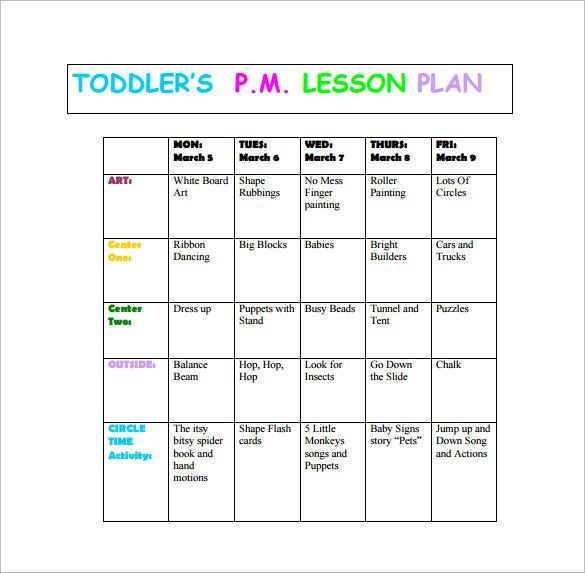 Toddler Lesson Plan Template u2013 10+ Free Word, Excel, PDF Format - daily lesson plan template word