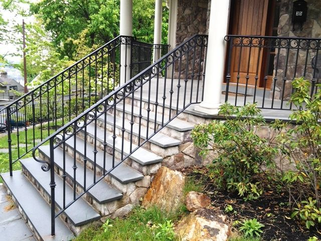 Image result for wrought iron railing for brick house ...