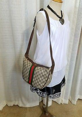 3970d523e160 Vintage Gucci Shoulder Bag Hobo Purse GG Monogram 80s Sherry Line Authentic