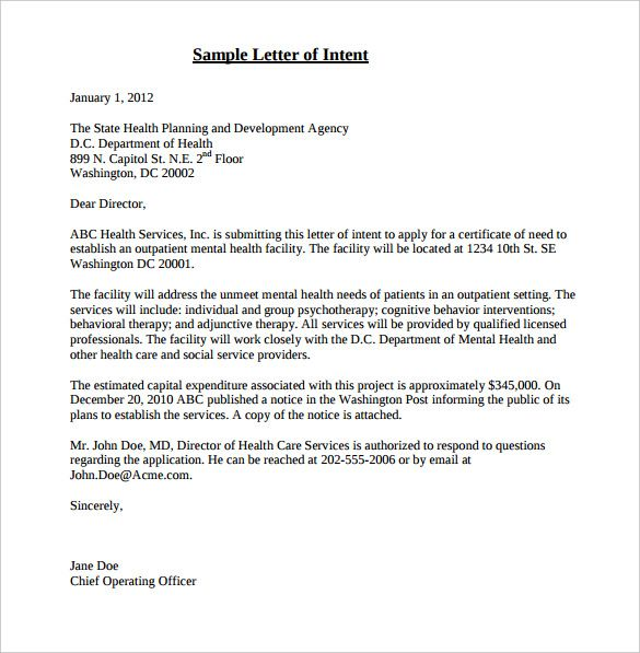free letter intent templates sample example format for job Home - free letter of intent template
