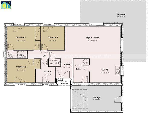 Image Associee Plan Maison Plan Maison 100m2 Plan Maison Plain