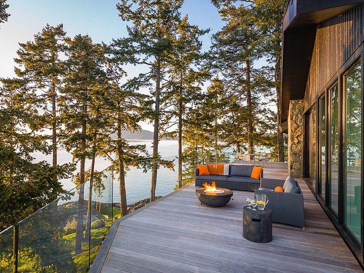 Villa moderne sur une île au Canada | Rustique, Chalet bois et Chalet