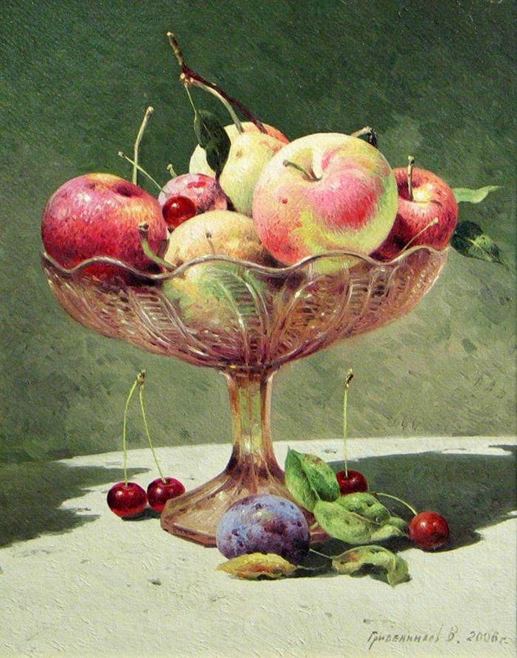 Картинки натюрморта с фруктами и вазой