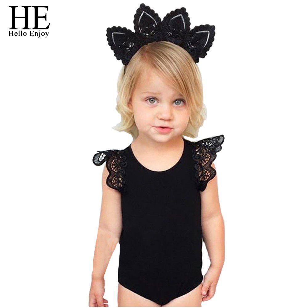 HIJ Hello Genieten baby rompertjes voor meisjes kleding mouwloze wit en zwart Kant meisje kleding pasgeboren baby meisje kleding