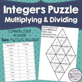 Multiplying and Dividing Integers Puzzle! Two versions included ...