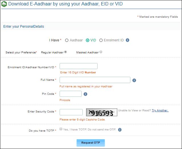 Step 2 Aadhar Card Online Download Using Vid Aadhar Card Cards Coding