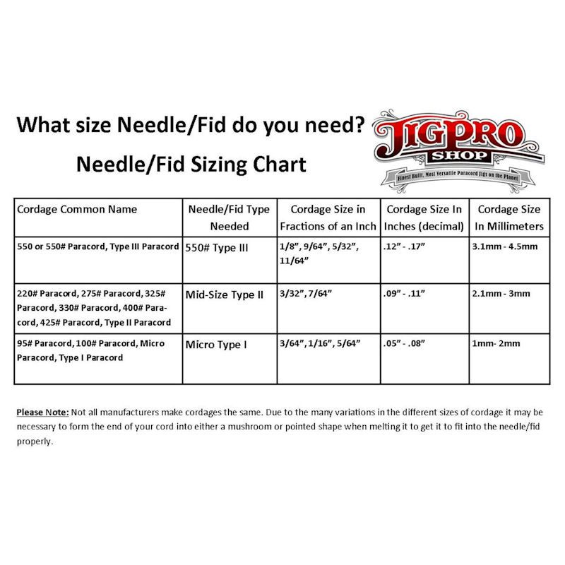 Paracord Needle Fid Sizing Chart Paracord Jig Paracord Projects
