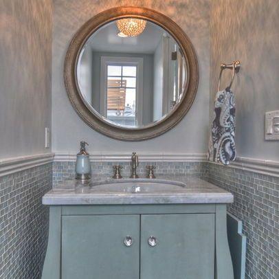 powder room | big round mirror for bathroom | powder room
