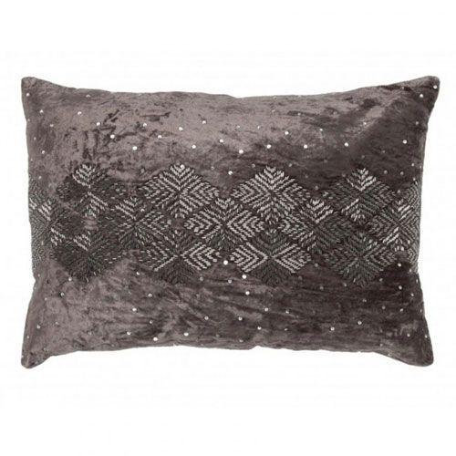 Mila Grey Velvet Pillow With Diamond Patterned Silver Beads