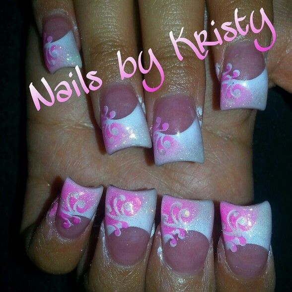 Pink And White Curved C Cut Airbrush Acrylic Nails By Kristy Pureplatinumsalonandspa Pureplatinumsalon