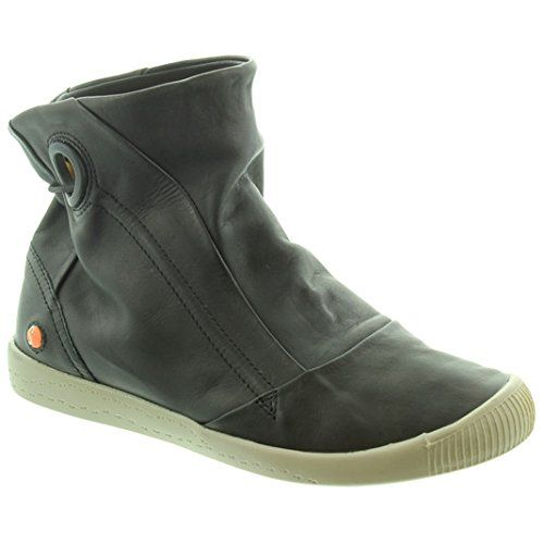 Softinos Inge Black Womens Casual Ankle Boots Leather from