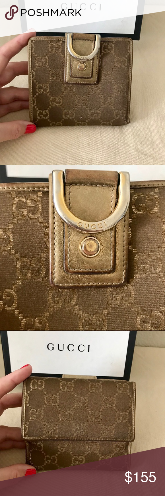 d4f0bee16616 GUCCI Brown/ Gold Canvas GG Abbey Small Wallet Authentic Gucci Brown/ Gold  Monogram Canvas
