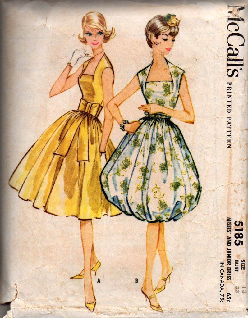 6866b8942e67 McCall s 5185 RARE Womens Wedge Neck Dress with Full Skirt or Balloon Skirt  Option 50s Vintage Sewing Pattern Size 13 Bust 33 inches