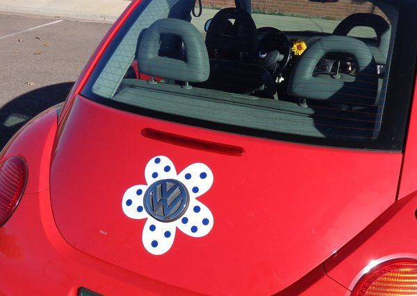 Magnetic Decal Flower Blue Polka Dots Blue Polka Dots Beetles - Magnetic car decals flowers