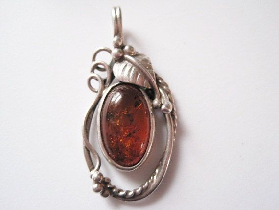 Vintage Sterling Silver Golden Amber Pendant Necklace  - Native American - Southwestern - Detailed