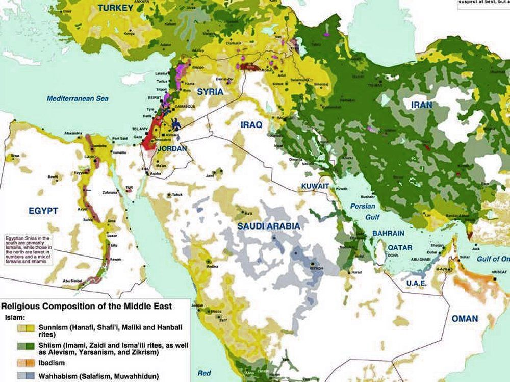Religious composition of the Middle East | Maps and the like