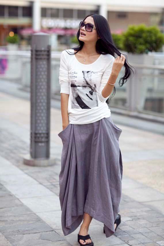 Lagenlook Hot Maxi Skirt Unique Long Skirt Big Pockets Summer ...