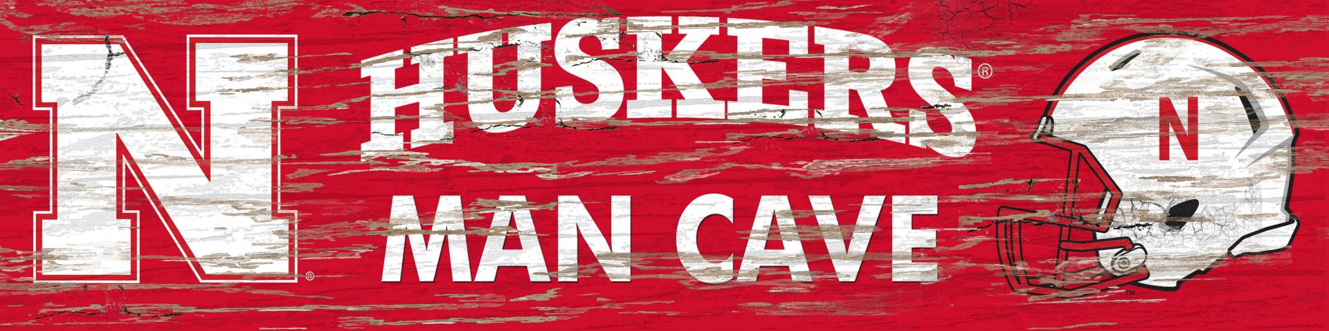 NCAA Nebraska University of Nebraska Distressed Man Cave Sign 16
