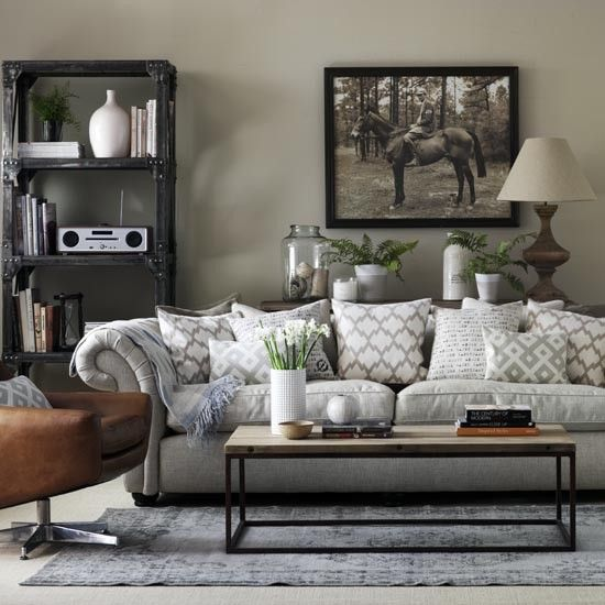 Grey living room ideas | Grey living rooms, Chesterfield sofa and ...