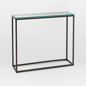 Box Frame Skinny Console Glass Antique Bronze Westelm