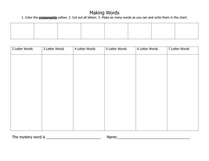 making words template Daily 5 Pinterest – Words Template
