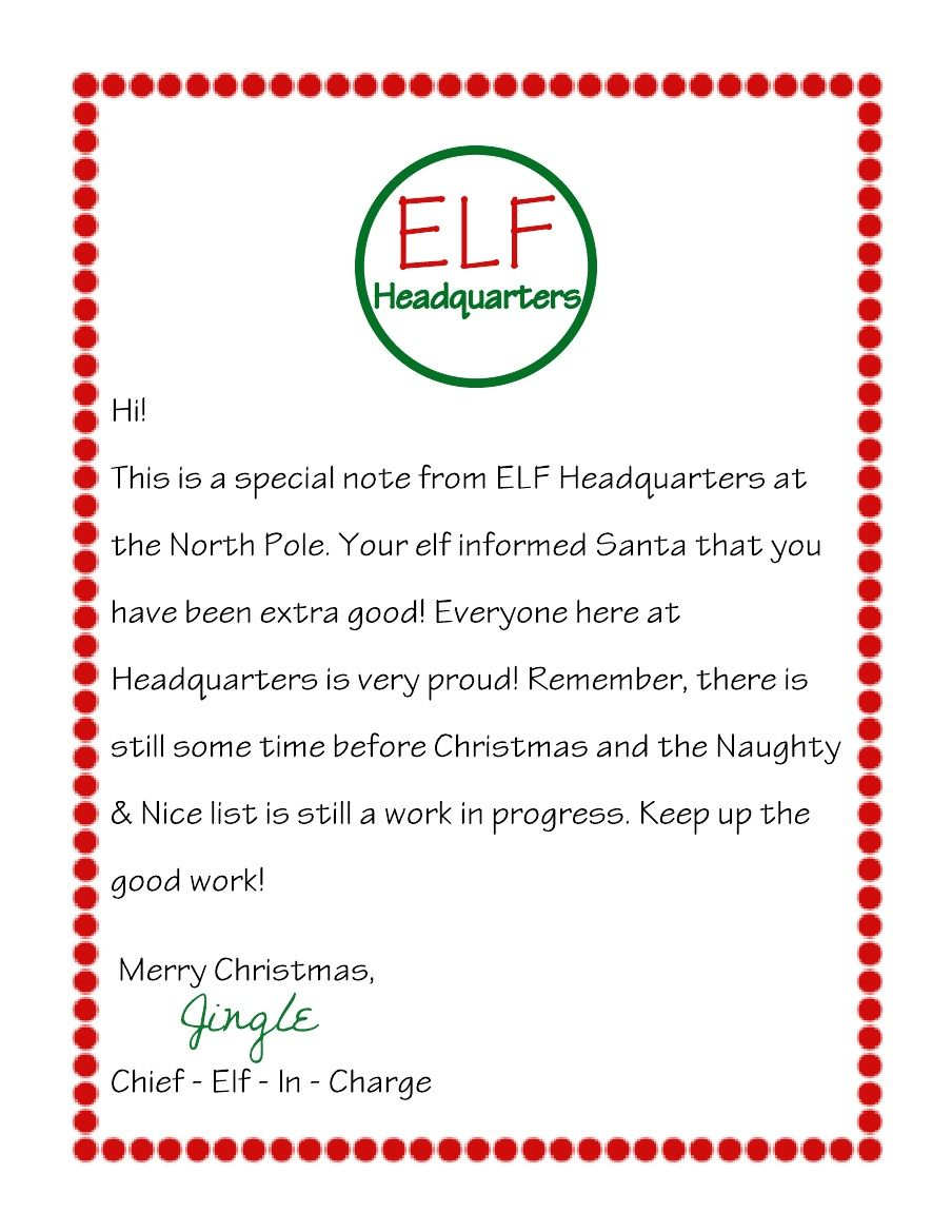 Letter From Elf On The Shelf Scribd Elf Letters Elf On The