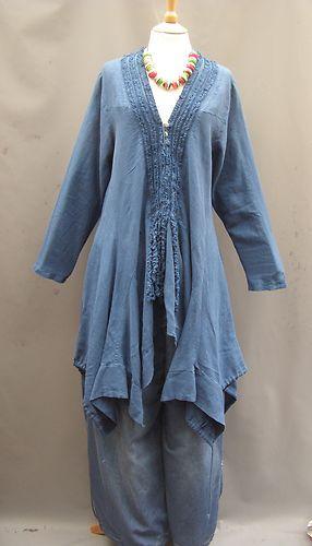 Completo Lino ~ Just in ~ BLUE ~linen Tassel Asymmetrical top dress~ 18-22/24 | eBay